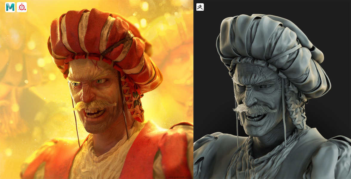 Landsknechts portrait. Sculpted in ZBrush, textured in Substance Painter, rendered in Maya.