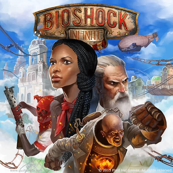 Cover for BioShock Infinite: The Siege of Columbia board game. © 2013 Plaid Hat Games. All rights reserved.