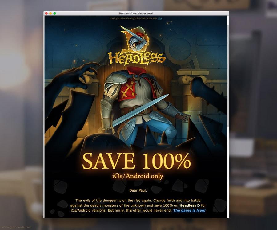 The newsletter design for www.headlessd.com