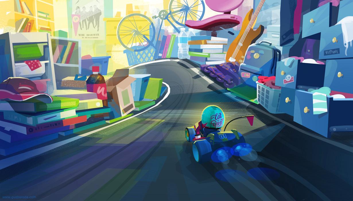Environment sketch for kart racing game