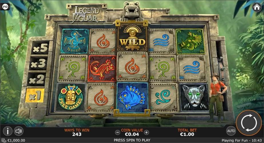 UI design for Legend of the Jaguar video slot game