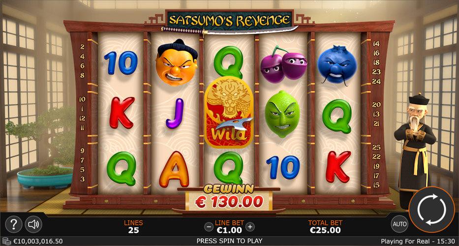 UI design for Satsumos revenge video slot game