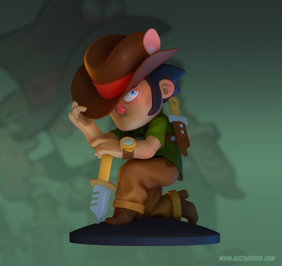 3D model of a character Ironside from the game Mercenary Kings