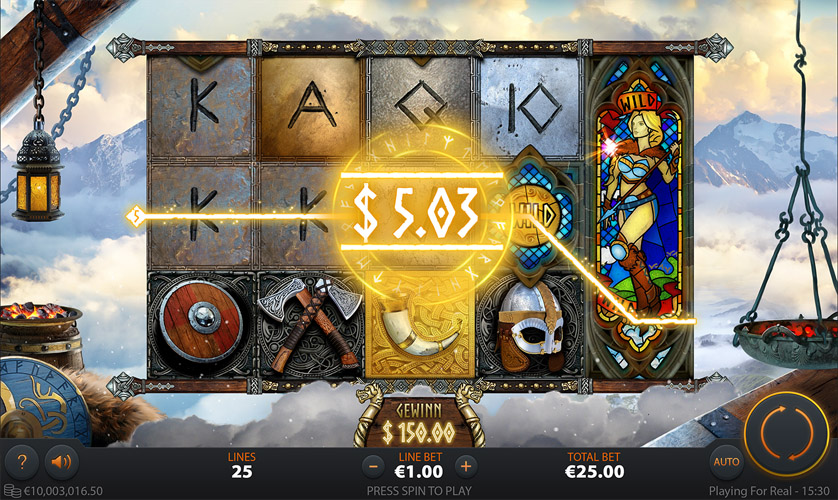 UI design for Call of the Valkyries video slot game