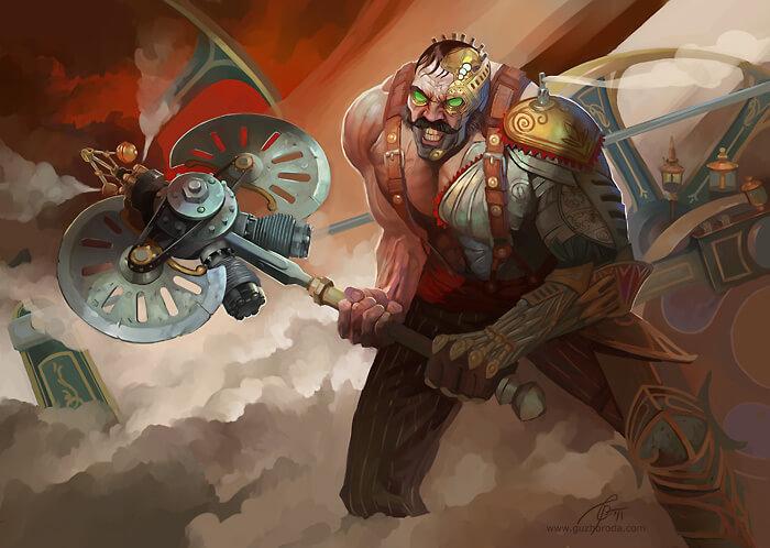 Steampunk character for Berserk CCG. © 2011 Fantasy World, Inc