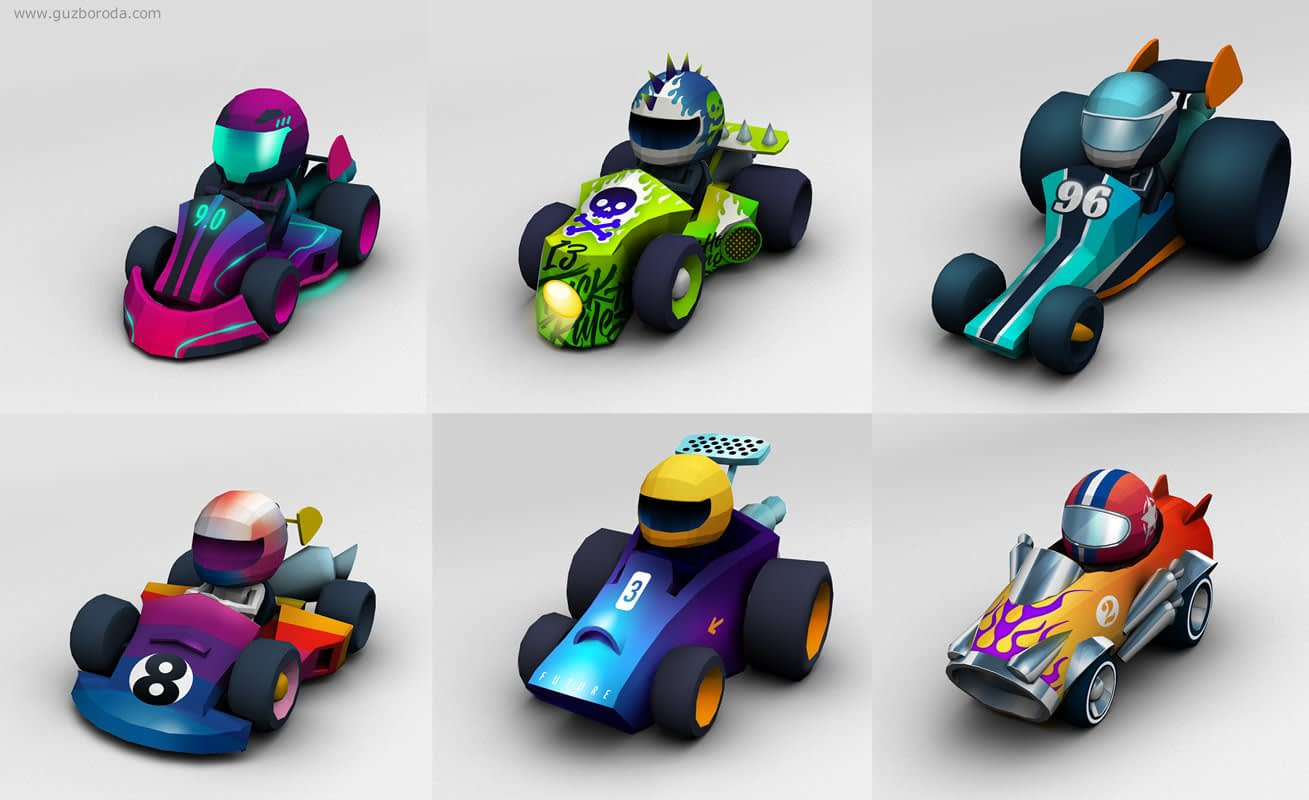 Concept art for a karts racing game