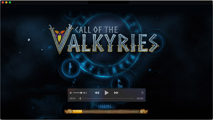 The logo design and motion design for Call of the Valkyries video slot game
