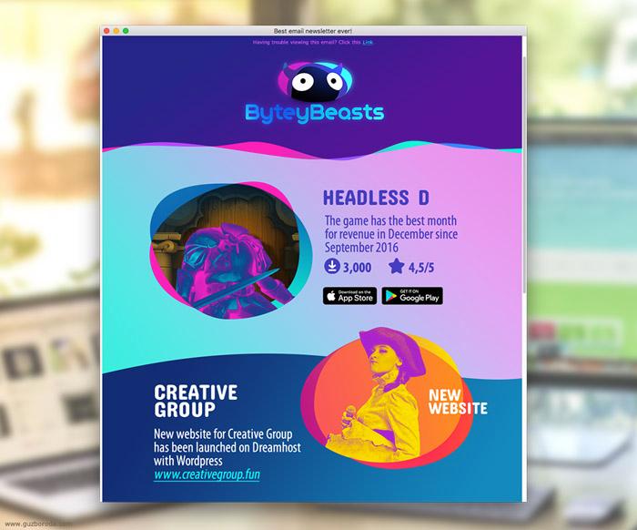 The newsletter design for ByteyBeasts