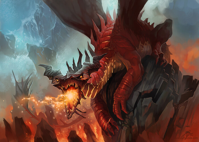 Red Dragon for Berserk CCG. © 2012 Fantasy World, Inc