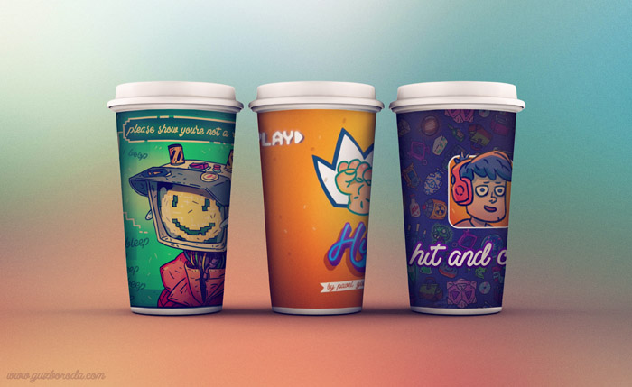 Cups design for Hit and Crash comic strip