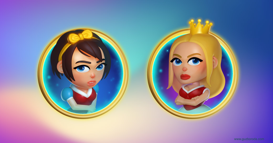 Character design and 3D models for a video slot game
